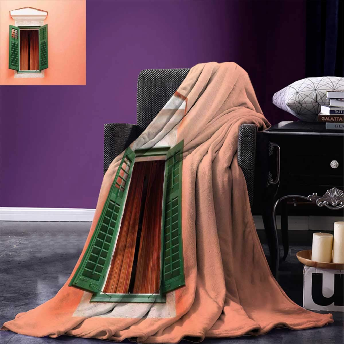 Country,Outdoor Blanket,Mediterranean Style Image of Window and Shutters Old House Rural Rustic,Flannel Blanket,Orange Green White,Size:50''x30''