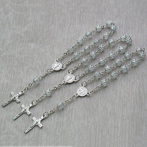 24 Pcs Rosebud Mini Rosary Favor for Baptism / Christening / First Communion / Sweet 15 / Wedding / Recuerdos de Bautizo