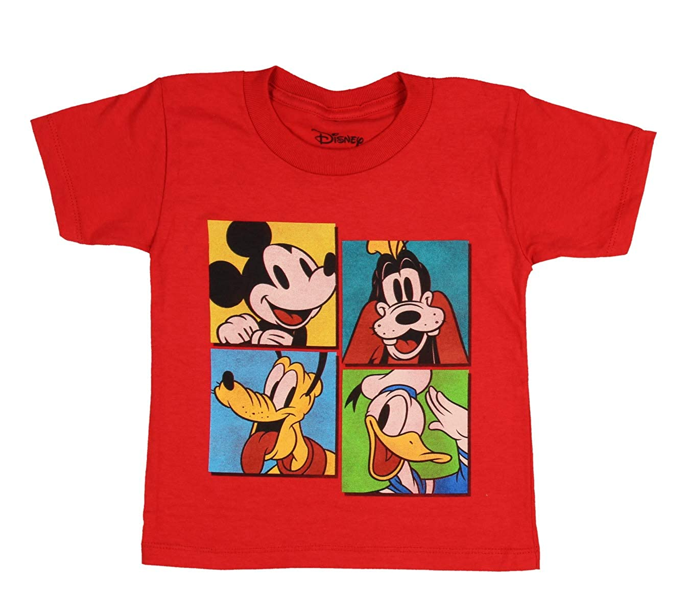 Disney Mickey Mouse Shirt Toddler Character Panel Pluto Goofy Donald Duck Tee