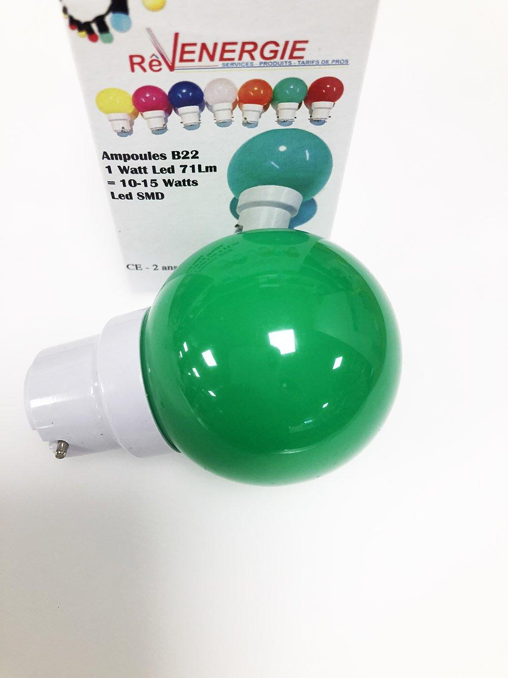 Lote de 6 bombillas LED B22 1 W color rojo, azul, verde, amarillo, rosa, naranja, irrompibles, equivalentes a 15 W, para guirnalda exterior: Amazon.es: ...