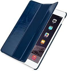 StilGut Couverture, housse en cuir véritable pour iPad Air 2, en bleu nuit
