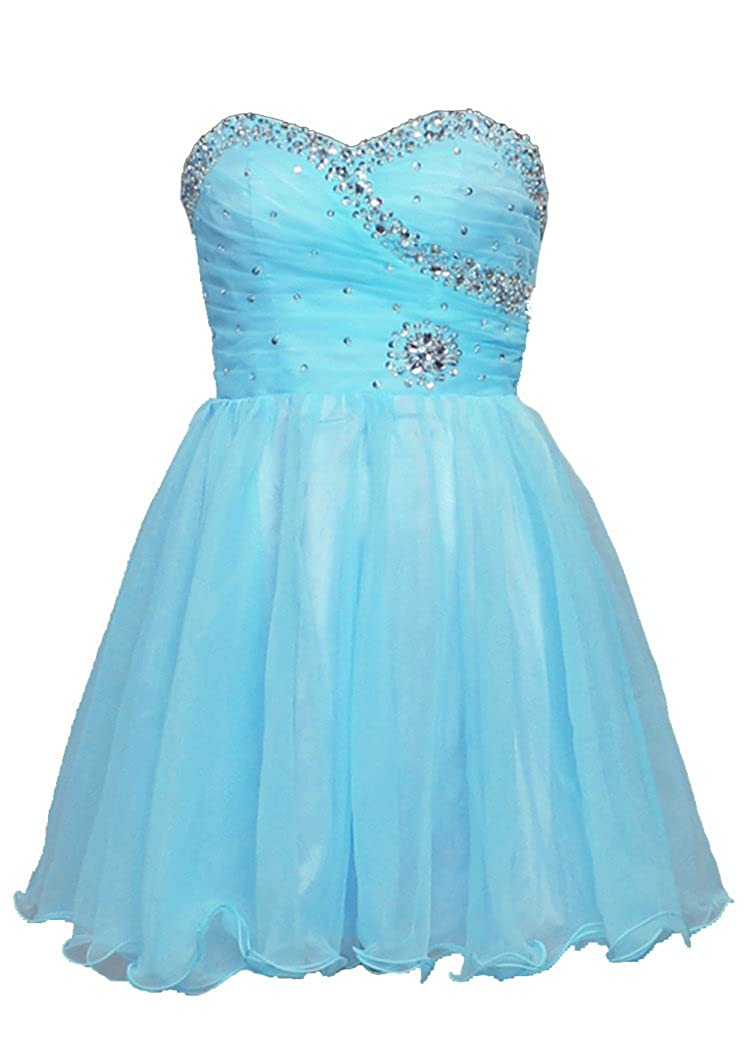 Turquoise Vantexi Women's Short Beaded Homecoming Dress Cocktail Party Gowns