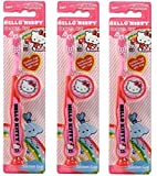 Hello Kitty Children's Tooth Brush (Pack of 3) With Cap and Suction