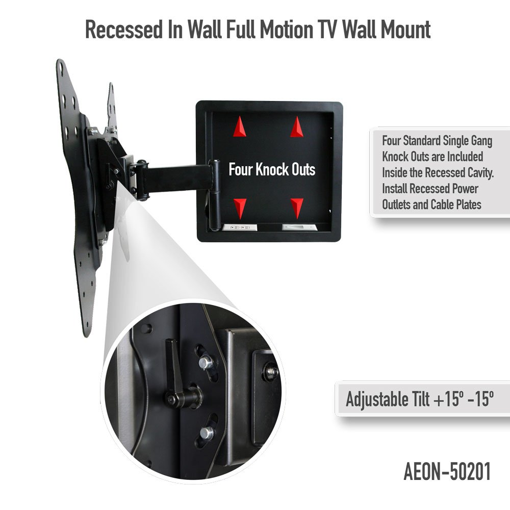 Amazon In Wall Recessed Full Motion TV Mount With Zero