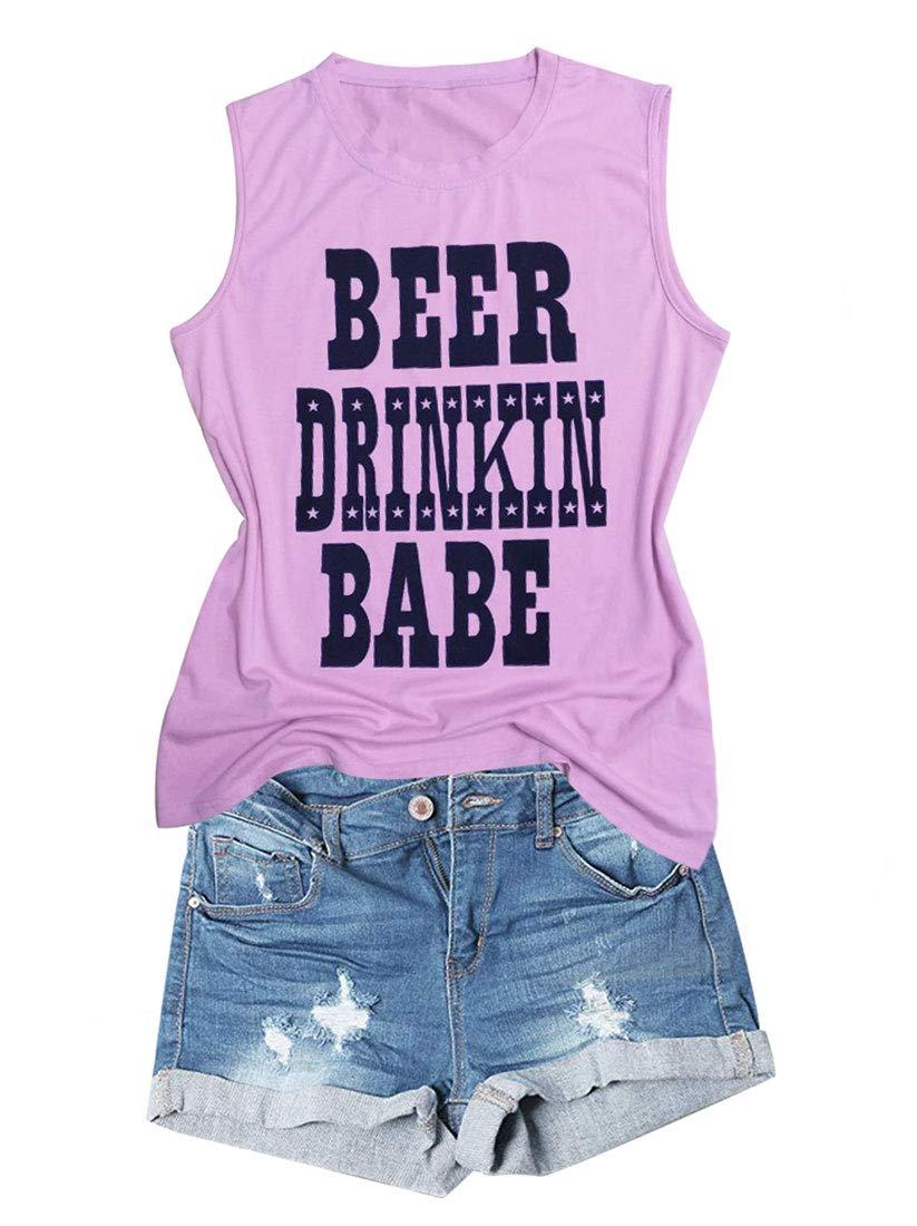 Anbech Beer Drinkin Babe Tank Tops Drinking Camis Shirts Funny Sleeveless Casual Shirt Tee