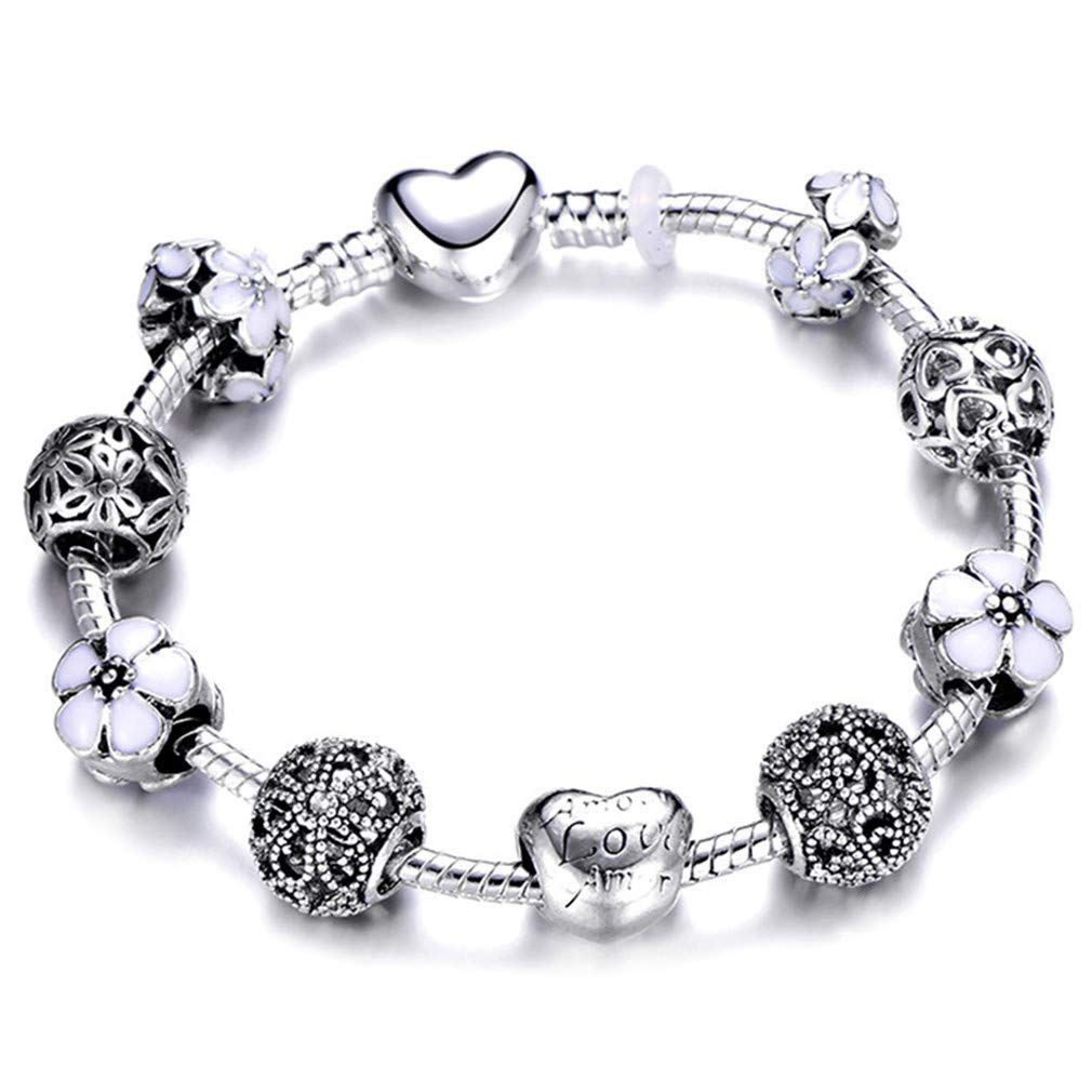 FHLJguil Fashion Silver Charms Bracelet Bangle for Women Crystal Flower Beads Fit Bracelets Jewelry AE0283 21cm