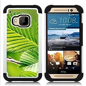 """Pulsar ( Hoja Verde Naturaleza Sun"""" ) HTC One M9 /M9s / One Hima híbrida Heavy Duty Impact pesado deber de protección a los choques caso Carcasa de parachoques [Ne"""