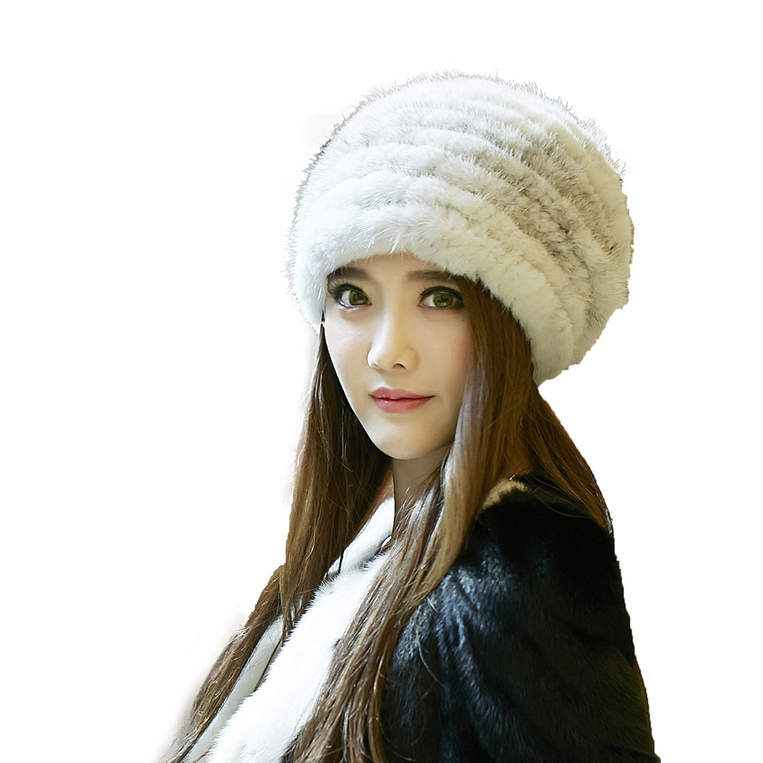 URSFUR Knited Mink Fur Beanie Hat with Silver Fox Fur Pom Pom (One Size Fits All, Sapphire)