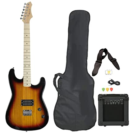 Full Size Electric Guitar With Amp Case And Accessories Pack Beginner Starter Package Vintage Sunburst