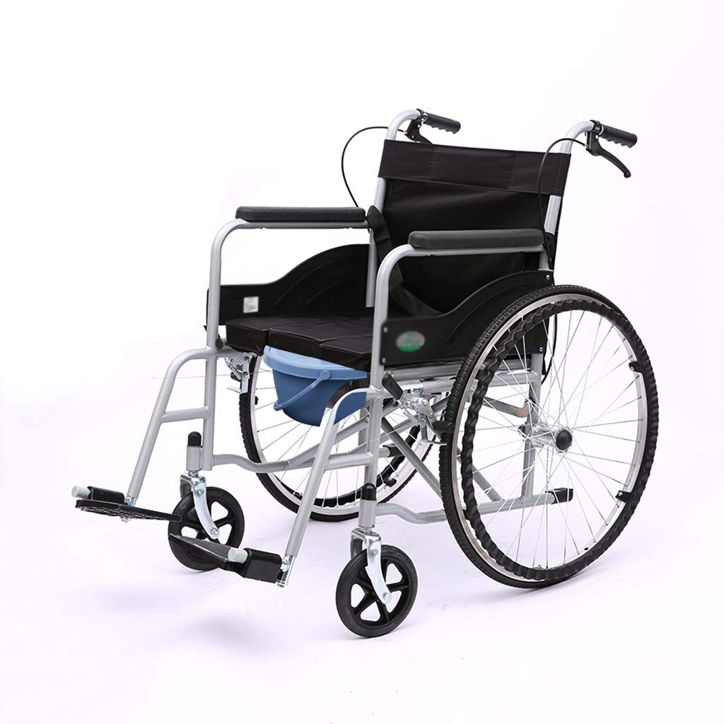 XXHDEE Personality Multi-Function Folding Wheelchair Portable Ultra-Light Old Man Trolley Walking aids (Color : B) by XXHDEE