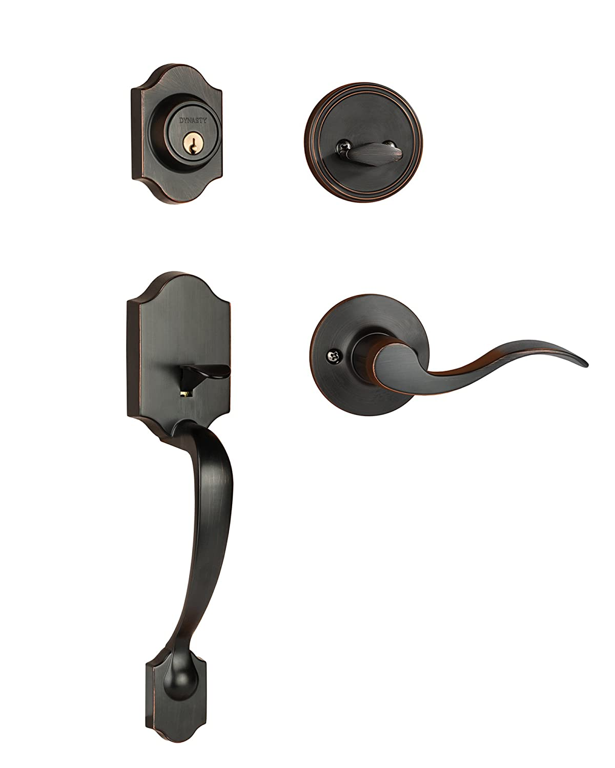 Dynasty Hardware DEN HER 100 12PL Denver Front Door Handleset, Aged Oil  Rubbed Bronze, With Heritage Lever, Left Hand   Door Handles   Amazon.com
