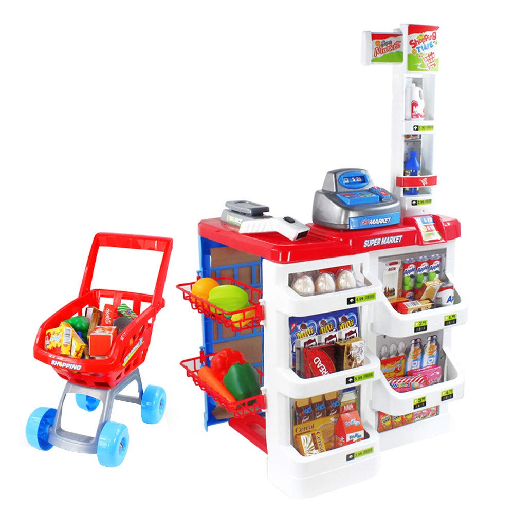 Mullue Shopping Day Grocery Cart - Portable Shopping Cart with 34 Pieces of Fruits, Vegetables, Pretend Food Playset - Grocery, Kitchen and Food Toys for Toddlers Age 3 Years and Up
