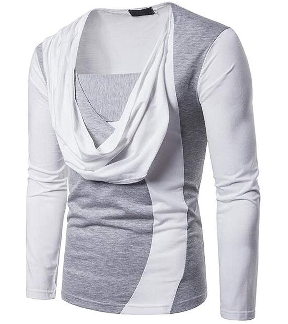 YUELANDE Men Classic Long Sleeve Patchwork Heap Collar Fashion Striped Top Shirt