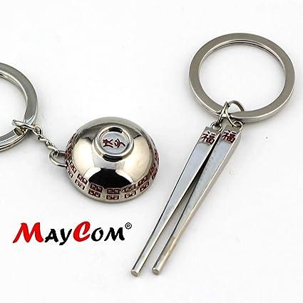 f9a67c81d92df Amazon.com  Maycom Creative Fashion Romantic Couple Keychain Key Chain Ring  Keyring Key Fob (Silver Bowl   Chopsticks)  Automotive