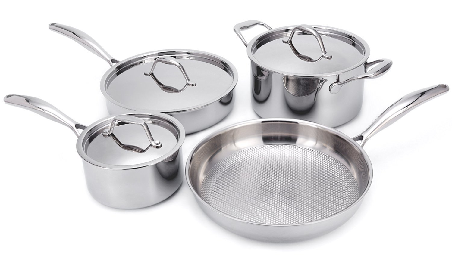 HUFTGOLD Professional Tri-Ply Stainless Steel 7-Piece Cookware Set, with Hive Shape Non-Stick Embossed Design
