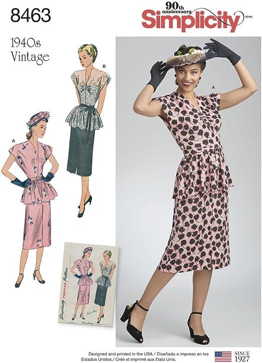 Simplicity 8463 R5 Robes Vintage 2 Pieces Robe 1940 S Vintage Patron De Couture Taille 42 22 Amazon Ca Maison Et Cuisine