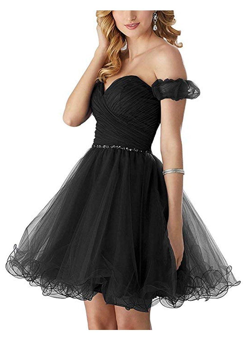 f979233fac8 Black Tulle Prom Dress Short