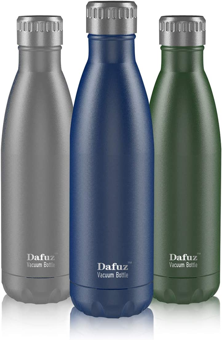Dafuz 17oz Stainless Steel Water Bottle, Double Walled Vacuum Insulated Cola Shape Water Bottle, Keeps Drinks Cold 24h or Hot 12h, Perfect for Outdoor Sports Camping Hiking Cycling(blue)