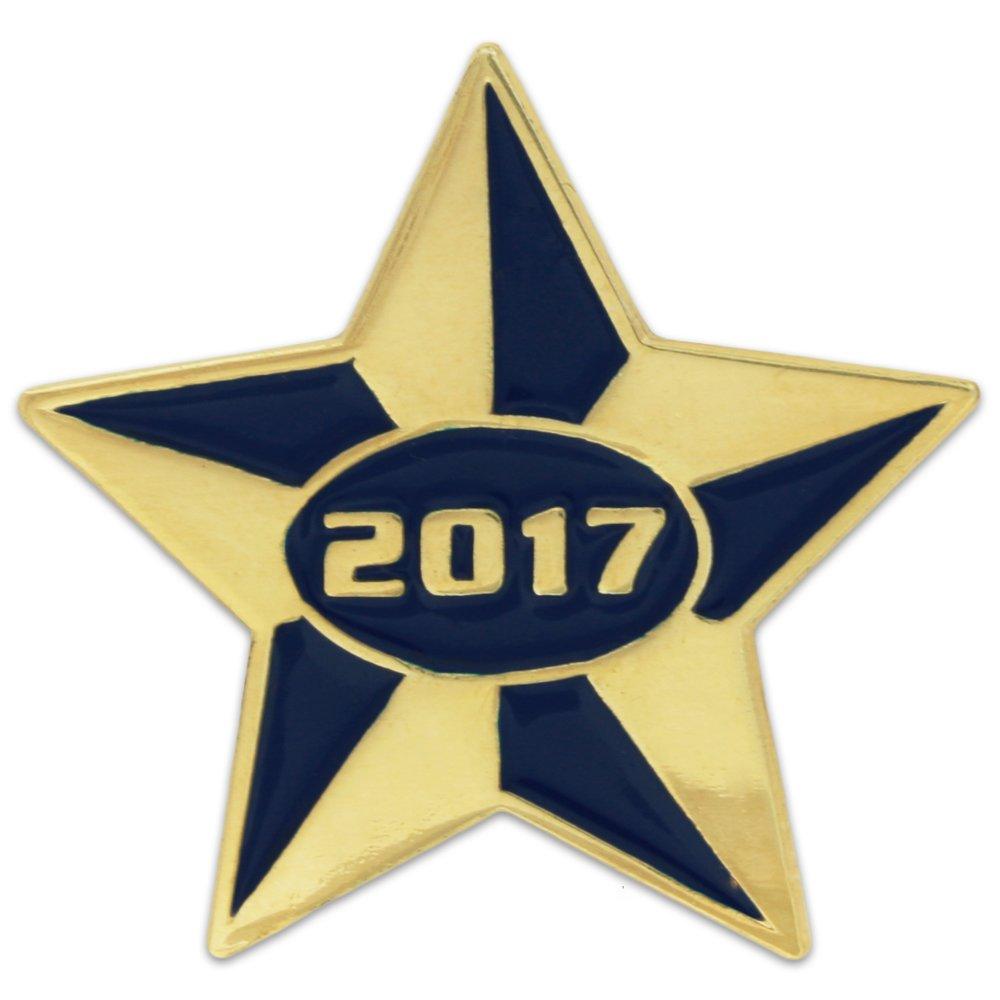 PinMart's 2017 Blue and Gold Star Class of School Graduation Enamel Lapel Pin