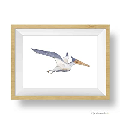 Pterodactyl Dinosaur Wall Art | Dinosaur Nursery Decor | Wall Art for Kids Rooms | 8.5 x 11 Fine Art Giclee Print: Handmade