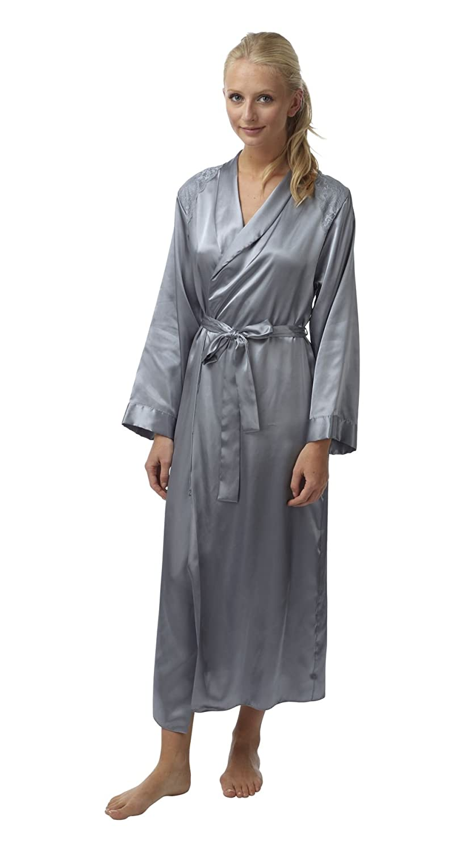 BHS Womens Sleepwear Silver Satin Long Sleeve Bathrobe Full Length ...