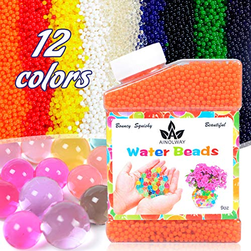 AINOLWAY High Elastic Water Beads Gel Pearls Jelly Crystal Soil for Vase Fillers 4oz Almost 15,000 Pcs (Orange)