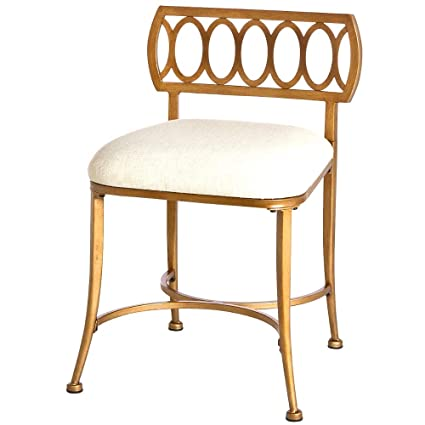 Miraculous Amazon Com Gold Vanity Chair With Back Upholstered Stool Ibusinesslaw Wood Chair Design Ideas Ibusinesslaworg