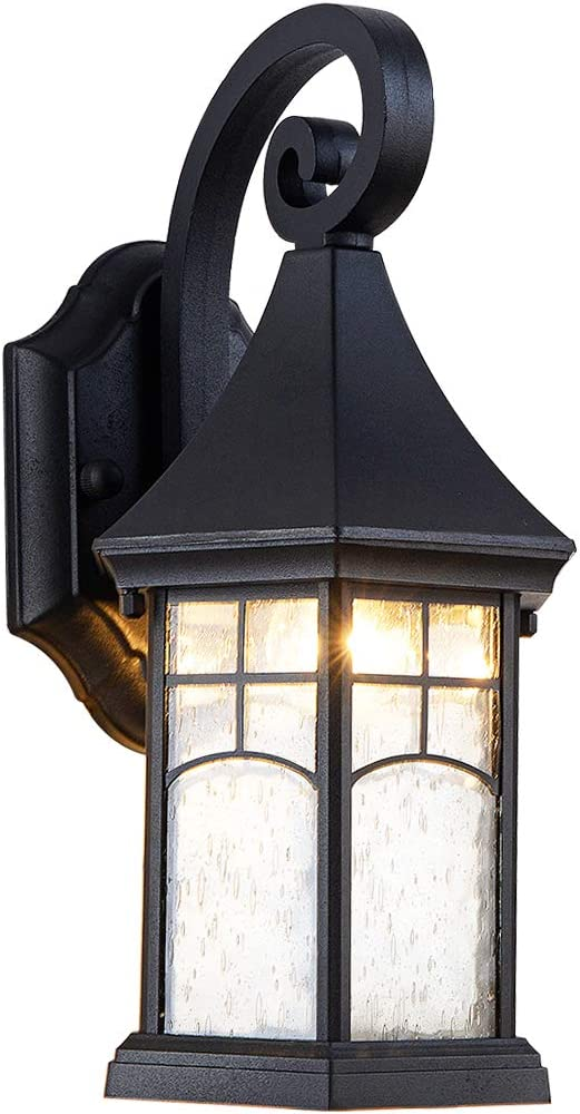 EERU Wall Sconce Outdoor Wall Lamp Modern Exterior Light Fixtures Waterproof,Black Cast Aluminum,Clear Bubble Glass Small House Decor for Wall Garage,Front Porch