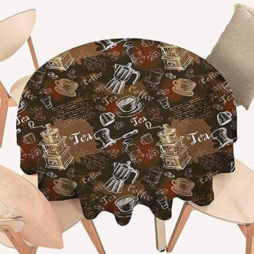 W Machine Sky Modern Table Cover Coffee Culture Theme with Italian Espresso French Press Tea Artwork Round Tablecloth D 70
