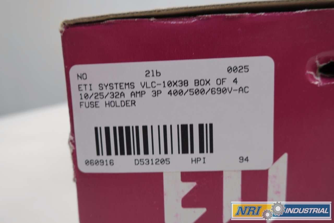Eti Vlc 10x38 Box Of 4 3p 400 500 690v Ac Fuse Holder D531205 Industrial Scientific