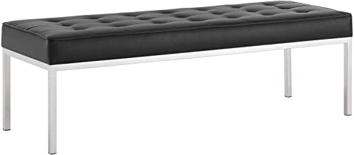 Modway Loft Tufted Button Faux Leather Upholstered Large Accent Bench in Silver Black
