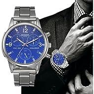 Han Shi Watch, Mens Fashion Crystal Stainless Steel Analog Quartz Wristwatch Simple Clock