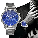 Han Shi Watch, Mens Fashion Crystal Stainless Steel Analog Quartz Wristwatch Simple Clock (Large, Blue)