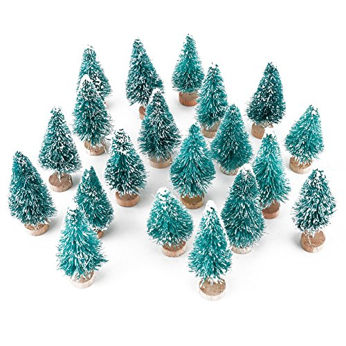 6MILES Artificial Mini Sisal Christmas Trees Snow Frost Wooden Bases Home Party Decoration Ornament DIY Craft (Blue-green, 20 pcs)
