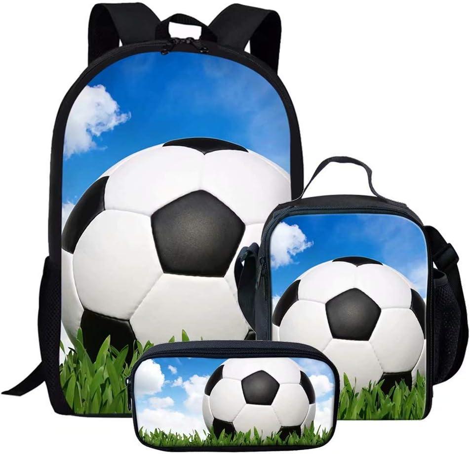 Chaqlin Gar/çon Fille Sacs D/école pour Les Adolescents Football Am/éricain Sac /À Dos Petit Fourre-Tout D/épaule Sac /À Lunch Zipper Crayon Cas 3pcs Set