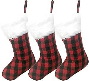 AISENO 3 Pack 20 Inch Black Red Plaid Christmas Stockings with Snowy White Faux Fur Hanging Ornaments Candy Gift Bags for Christmas Decorations