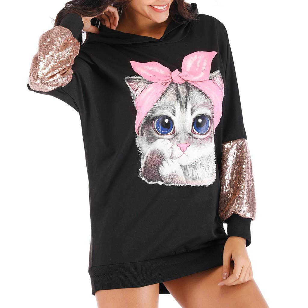 〓COOlCCI〓2019 Women's Novelty Hoodies,Women Hoodies-Tops- Cat Printed Patchwork Long Sleeve Sweatshirt Tunic Pullover Tops Black by COOlCCI_Womens Clothing