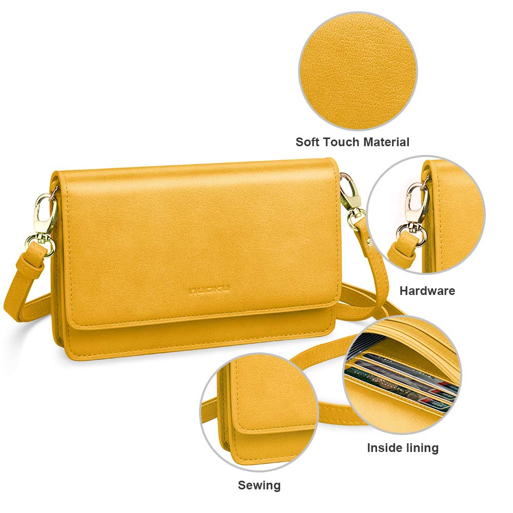 nuoku Women Small Crossbody Bag Cellphone Purse Wallet with RFID Card Slots 2 Strap Wristlet(Max 6.5'') … (Yellow) by nuoku (Image #6)