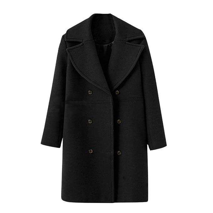a91307cec HARRYSTORE Women's Double Breasted Wool Coat Women Coats Wool Winter ...