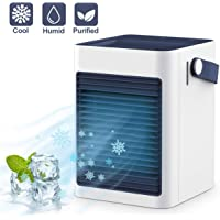 Oratec Freon-Free Portable Air Conditioner, Super Quiet Personal Leakproof Evaporative Swamp Air Cooler, 3 in 1 Perfect Mini Table A/C Fans for Office/Night Table/Baby's Room/Car/Tent, White& Blue
