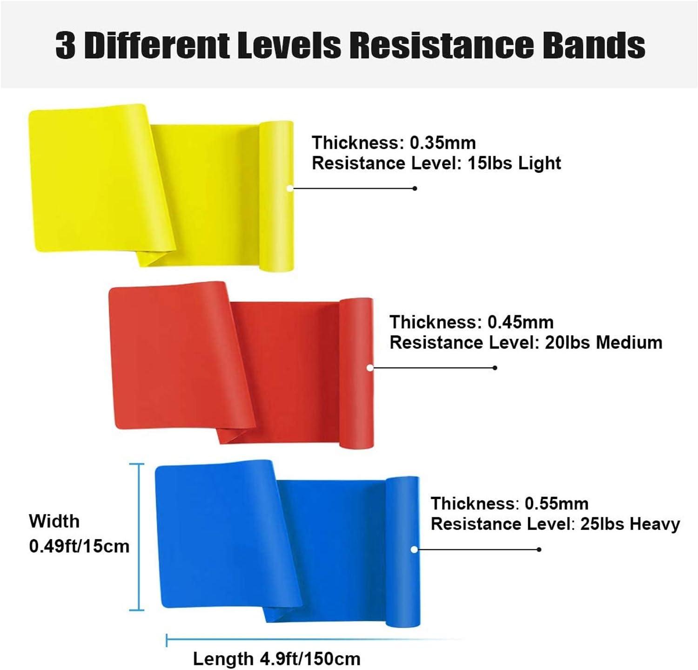 Latex Naturel /Équipement dExercices pour Musculation//Pilates//Yoga Bande /Élastique Fitness 3 Niveaux de Force Lot de 3 GLOBAL GOLDEN
