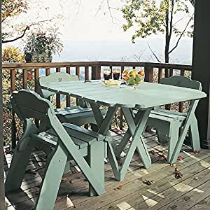 Uwharrie Chair Company Fanback Collection Square Picnic Table - Poly - Coral Red