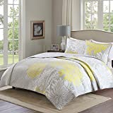 quilt set queen grey - Comfort Spaces – Enya Quilt Mini Set - 3 Piece – Yellow and Grey – Floral Printed Pattern – Full / Queen size, includes 1 Quilt, 2 Shams