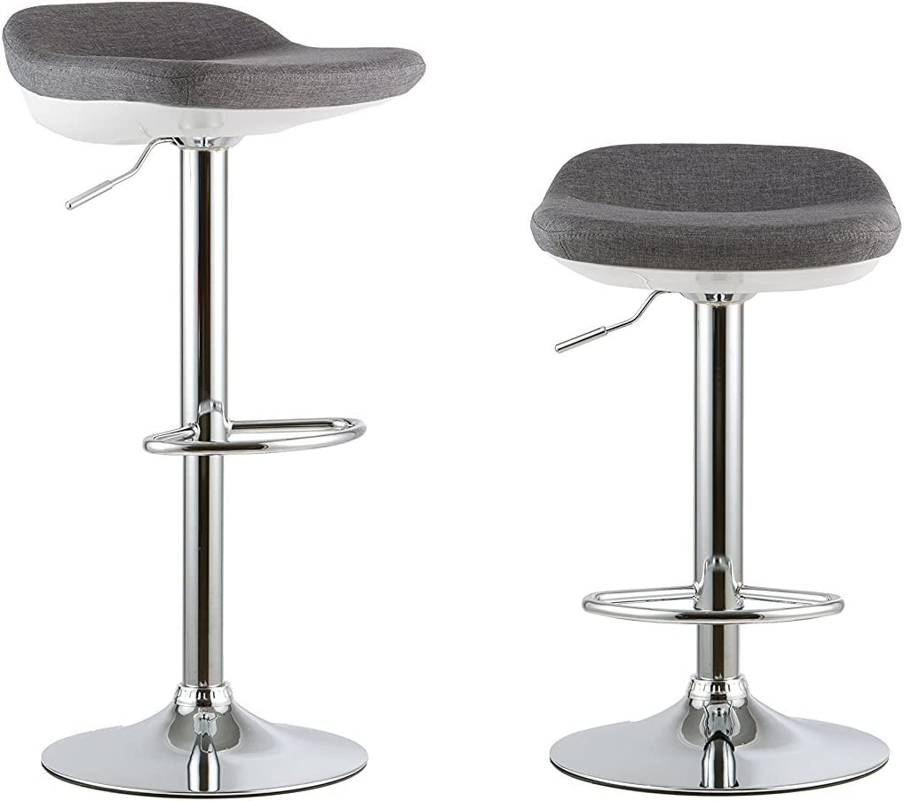 Waroom Home Barstools Set of 2, Adjustable Height Swivel Pub Bar Stools with PU Leather Seat and Chrome Footrest, Backless Breakfast Kitchen Chair A- Grey