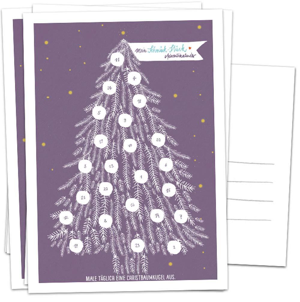 5 Postkarten im geschmackvollen Design mit Baumkugeln zum Ausmalen Mini Adventskalender als Weihnachtskarten Alternative f/ür Advent /& Weihnachtsgr/ü/ße Lila Wei/ß Gelb Adventskalender Karten Set