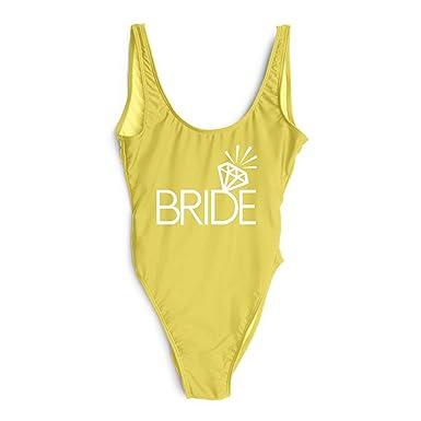 High Cut Badpak.Bachelor Party One Piece Swimsuit Team Bride Diamond Print Swimwear