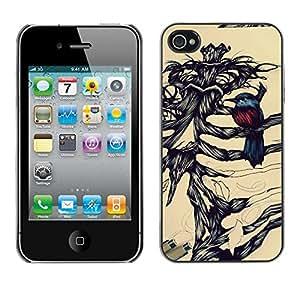 Planetar® ( Robin Bird Skeleton Brown Black ) iPhone 4 / 4S Fundas Cover Cubre Hard Case Cover