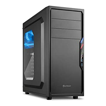 Sharkoon VS4-W - Caja de Ordenador, PC Gaming, Semitorre ATX, Negro
