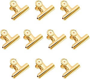 Gold Binder Clips, Coideal 10 Pack 2 Inch Stainless Steel Large Metal Bulldog/Hinge Paper Clips Clamps for Pictures Photos, Home Kitchen, Office Supplies (51mm)
