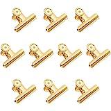 Gold Binder Clips, Coideal 10 Pack 2 Zoll Edelstahl große Metall Bulldogge/Scharnier Büroklammern Klammern für Bilder Fotos, Küche zu Hause, Büro Zubehör (51mm)